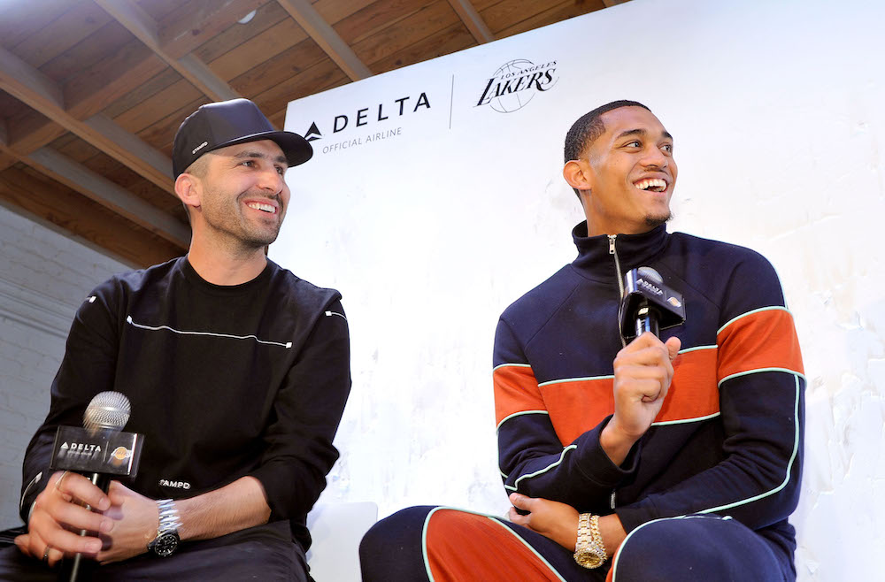 "LOS ANGELES, CA - APRIL 03: (L-R) Designer Chris Stamp and Los Angeles Lakers Guard Jordan Clarkson attend the Immersive Style Experience with fans at Delta's ""Beyond the Court"" event with Los Angeles Lakers Guard Jordan Clarkson and Streetwear Designer Chris Stamp at the Stampd Store on April 3, 2017 in Los Angeles, California. (Photo by John Sciulli/Getty Images for Delta Air Lines)"