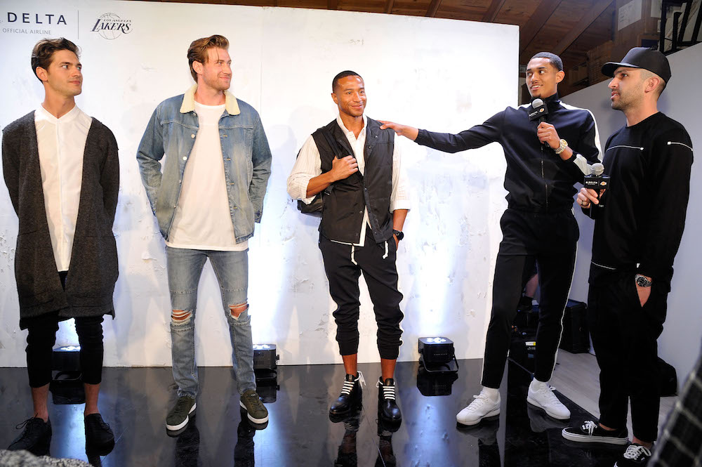 "LOS ANGELES, CA - APRIL 03: (L-R) Models posing the fashion looks created by contestants with Los Angeles Lakers Guard Jordan Clarkson and Designer Chris Stamp attend the Immersive Style Experience with fans at Delta's ""Beyond the Court"" event with Los Angeles Lakers Guard Jordan Clarkson and Streetwear Designer Chris Stamp at the Stampd Store on April 3, 2017 in Los Angeles, California. (Photo by John Sciulli/Getty Images for Delta Air Lines)"